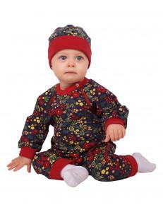 """Комбинезон для малышей с шапочкой """"Ягодная роспись"""""""