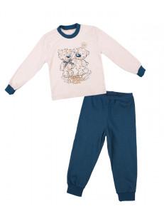"""Пижама детская сине-бежевого цвета """"мишки танцуют"""""""