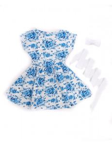 Платье с коротким рукавом на девочку гжель