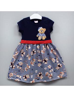 """Платье с коротким рукавом темно-синего цвета """"Медвежата"""""""